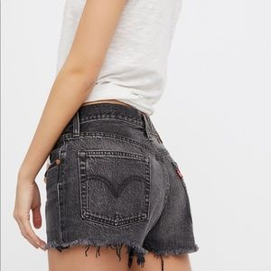 Levi's High Waisted Shorts in Grey
